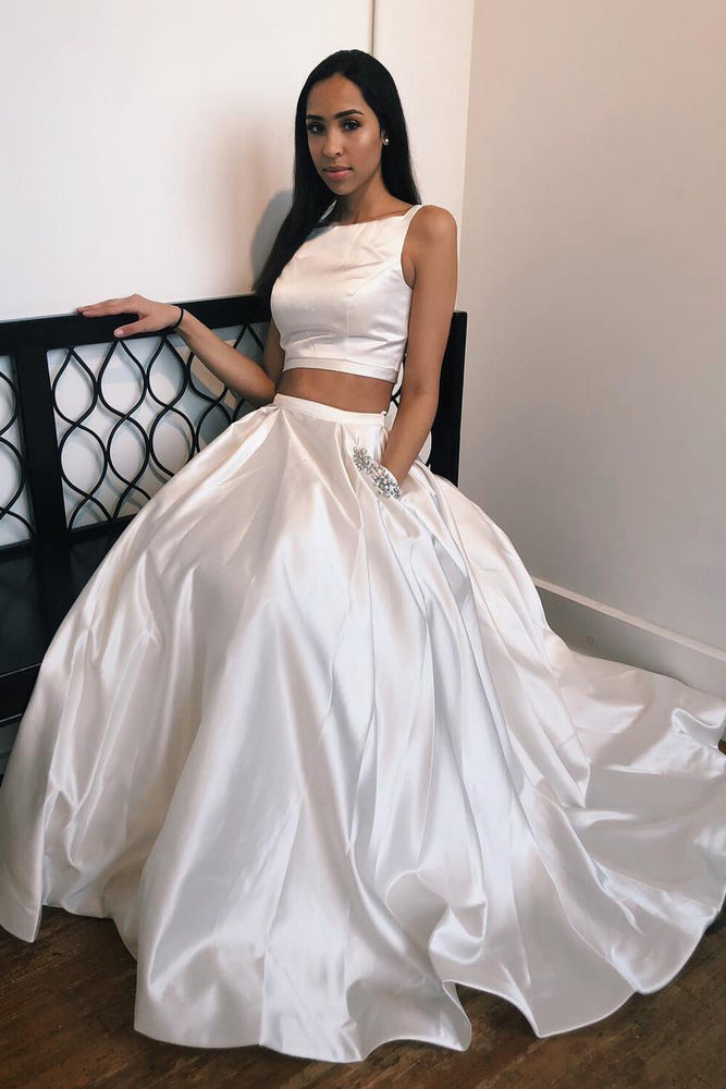 Elegant Two Piece White Long Prom Dress with Beaded Pockets
