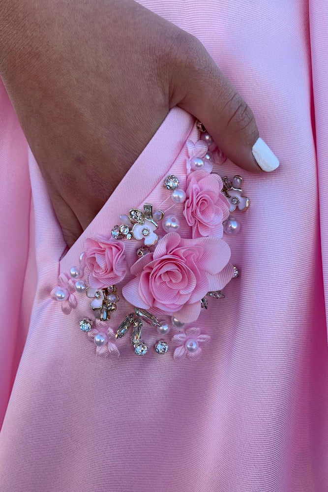 Elegant Straps A-Line Pink Long Prom Dress with Beaded Pockets