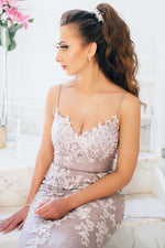 Elegant Straps Mermaid Pink Long Prom Dress with Appliques