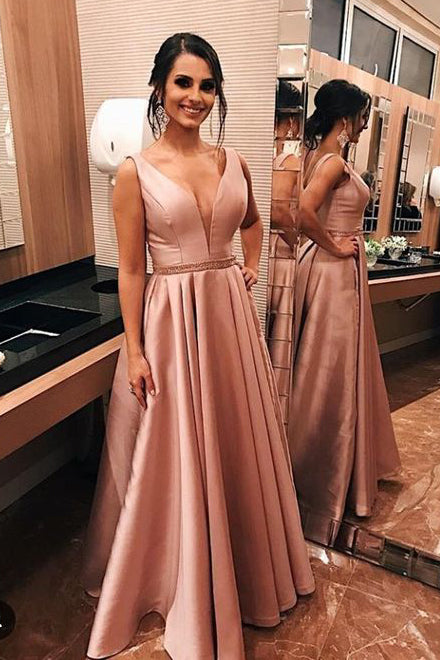 Elegant V Neck A-Line Beaded Pink Prom Dress