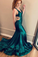 Elegant V Neck Mermaid Teal Long Prom Dress