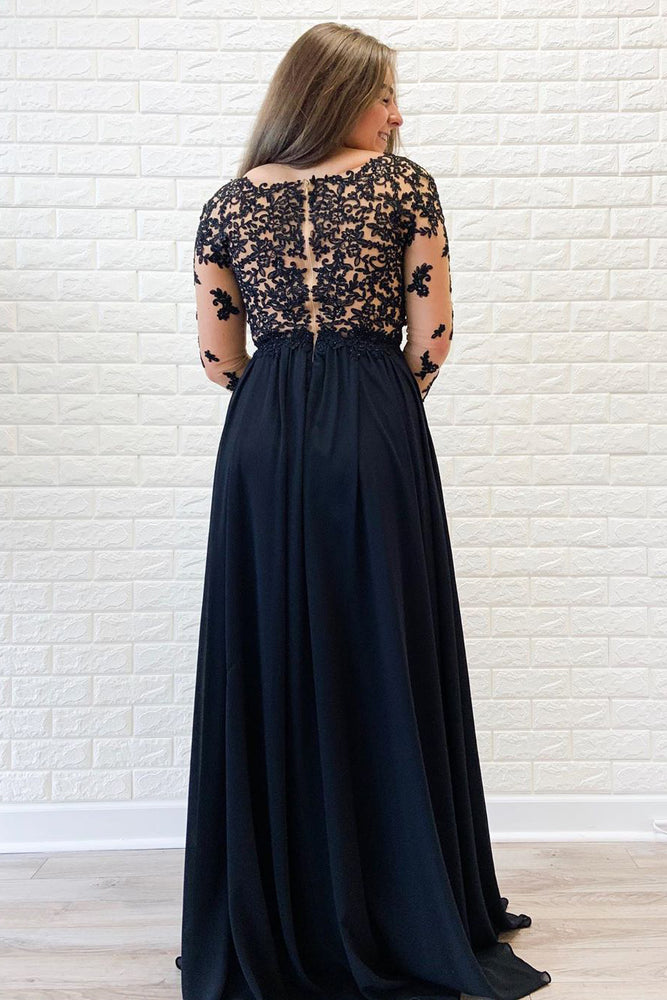 A-Line Long Sleeves Appliques Navy Blue Prom Dress with Slit