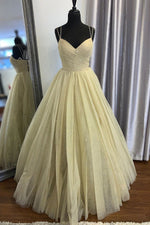 Elegant Spaghetti Straps A-Line Yellow Long Prom Dress