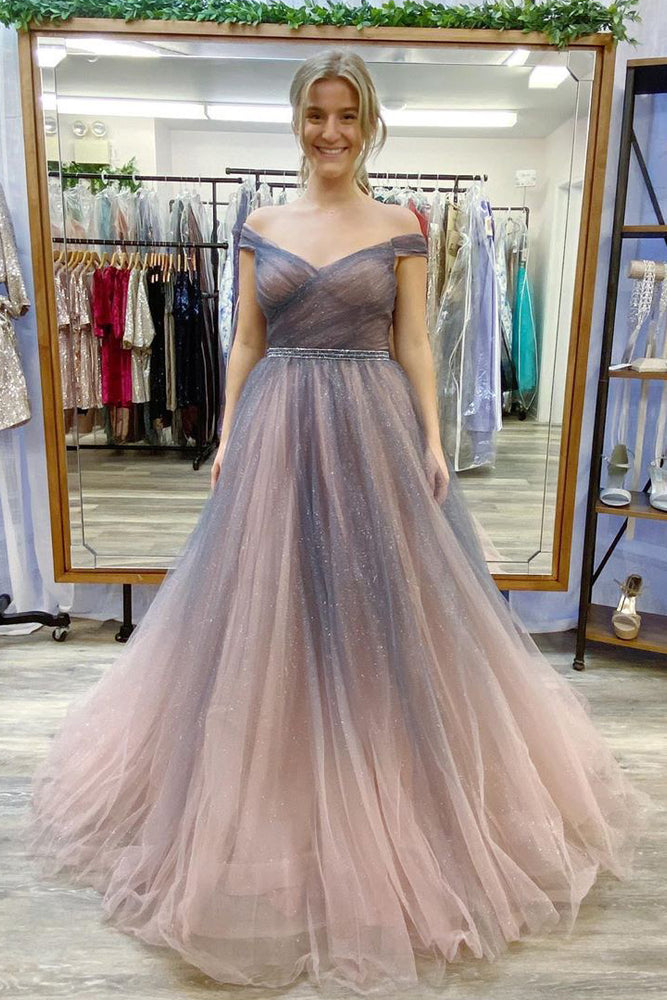 Elegant A-Line Off the Shoulder Ombre Long Prom Dress