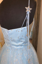 Elegant Spahetti Straps A-Line Light Sky Blue Dress with Appliques