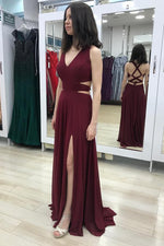 Elegant Sheath V Neck Burgundy Long Prom Dress with Slit