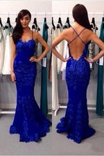 Elegant Straps Mermaid Black Lace Long Prom Dress with Open Back