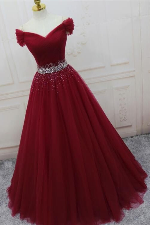 Elegant Off the Shoulder A-Line Sequins Burgundy Long Prom Dress