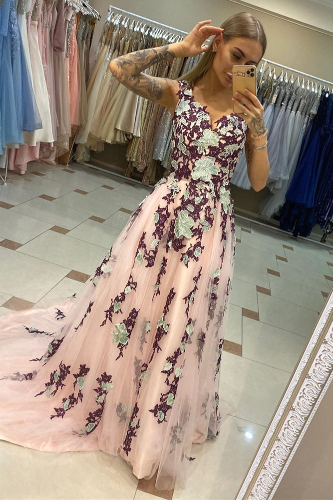 A-Line Pink Prom Dress with Appliques