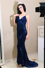 Mermaid Navy Blue Sequin Long Prom Dress