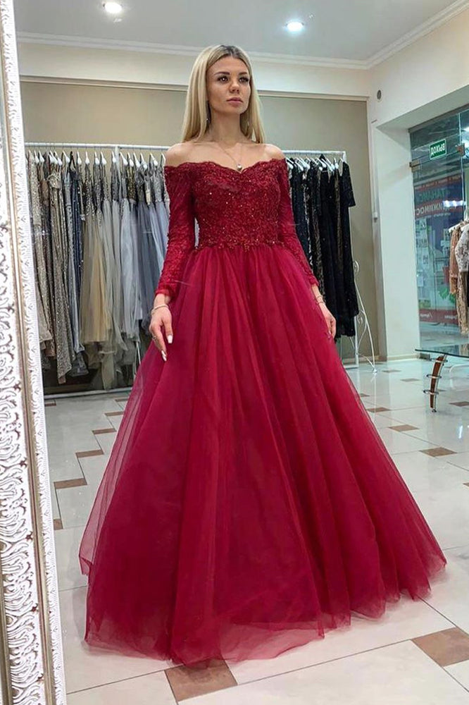 Long Sleeves Appliqued Burgundy Long Prom Dress