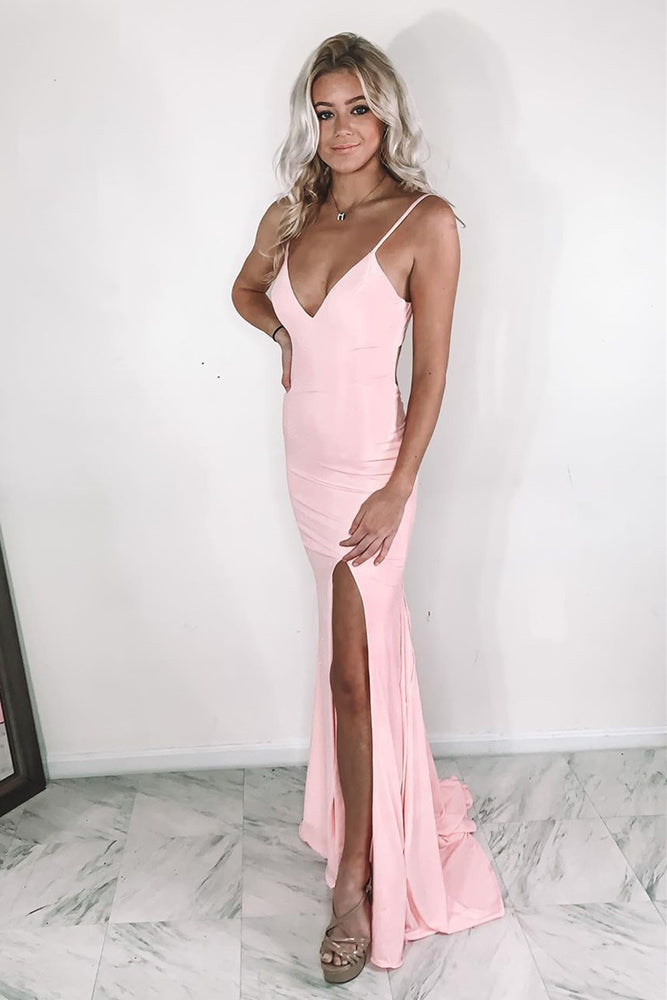 Sexy V Neck Mermaid Pink Prom Dress with Slit