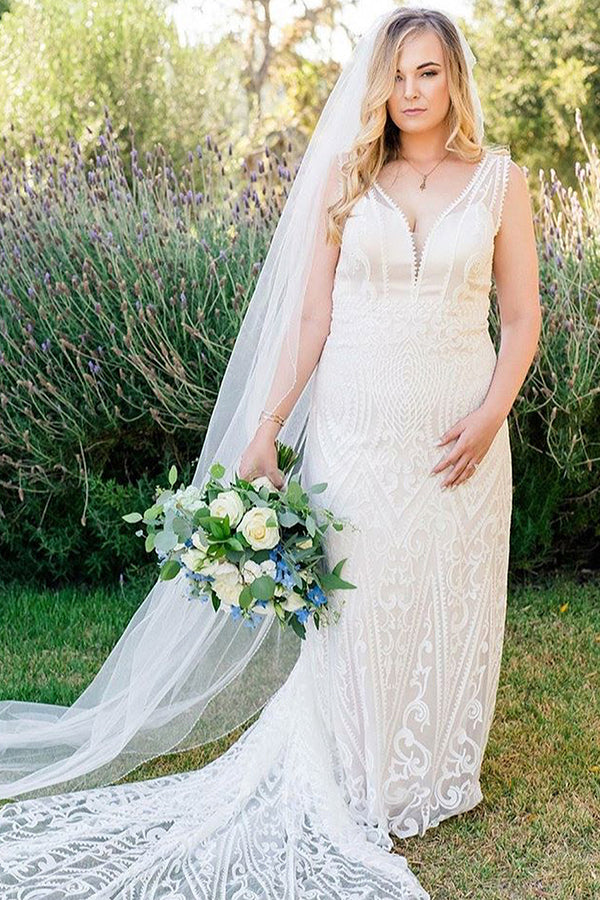 Long Mermaid V-Neck Ivory Wedding Dress with Train