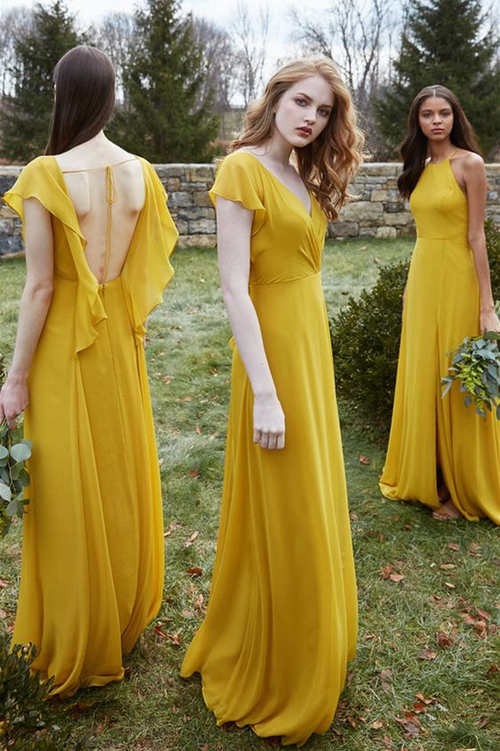 A-line Chiffon Floor-Length Mustard Yellow Bridesmaid Dresses