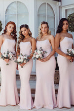 Elegant Strapless Mermaid Floor-Length Pink Bridesmaid Dress