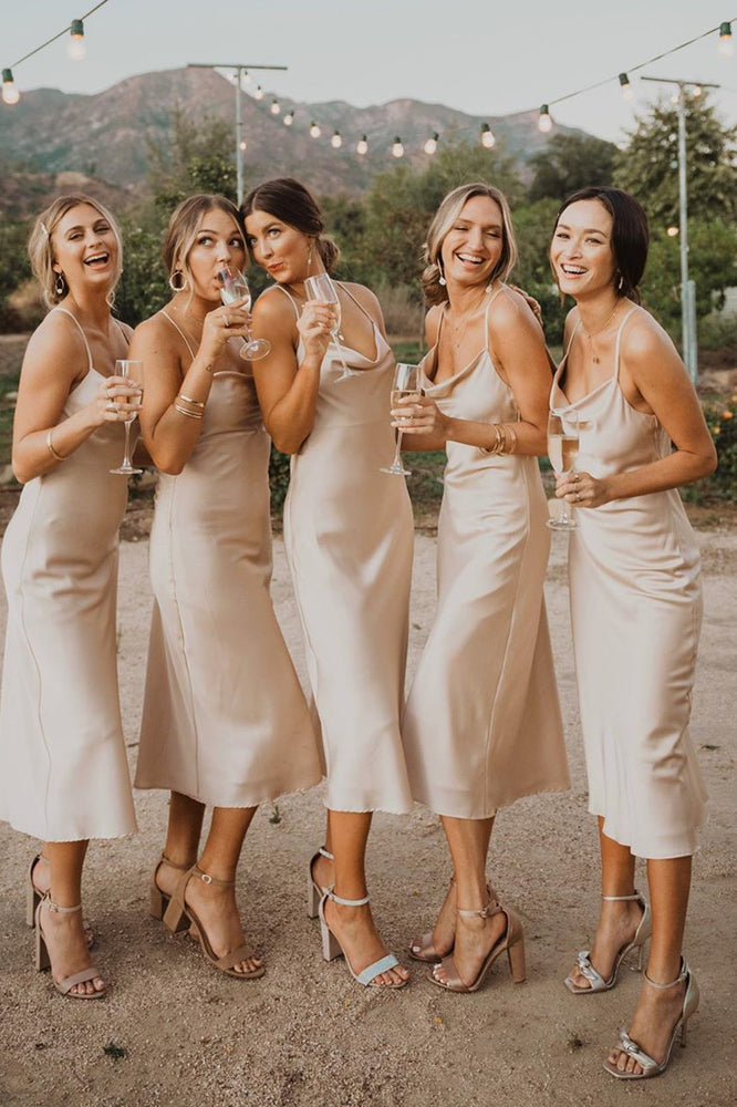 Spaghetti Straps Cowl Neck Tea-Length Champagne Bridesmaid Dress