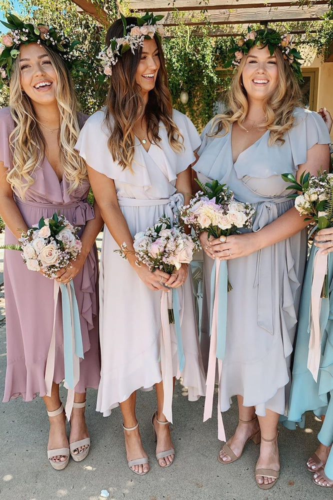 Elegant Tea-Length Ruffles Asymmetrical Chiffon Bridesmaid Dresses