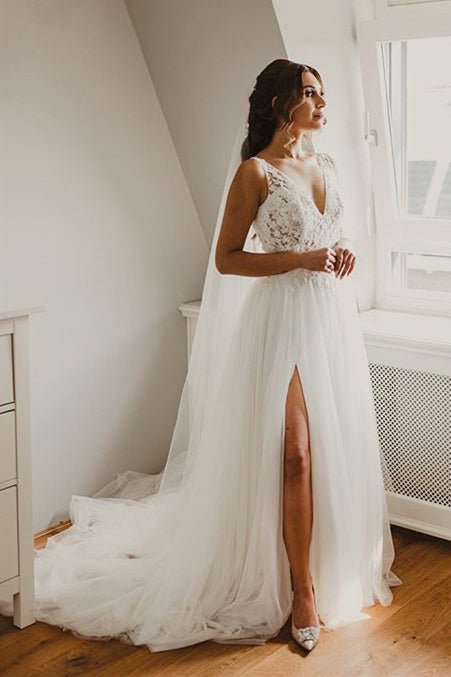 Long A-line V-Neck Lace White Wedding Dress with Slit