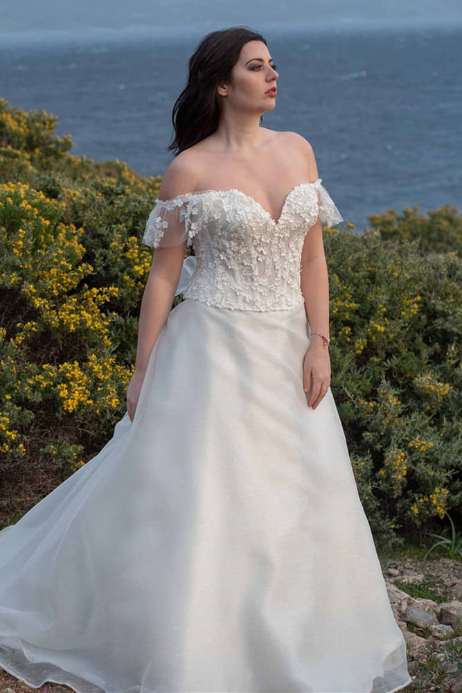 A-ine Long Off the Shoulder Ivory Wedding Dress with Appliques