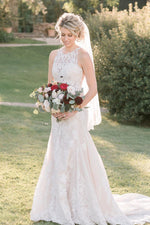 Mermaid Ivory Wdding Dress with Lace Appliques