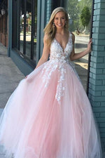 Ball Gown V Neck Pink Prom Dress with White Lace