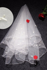 Crimping Lucky Knot White Bridal Veil