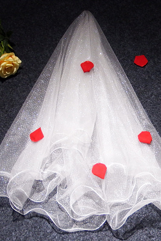 White Glitter Wedding Veil