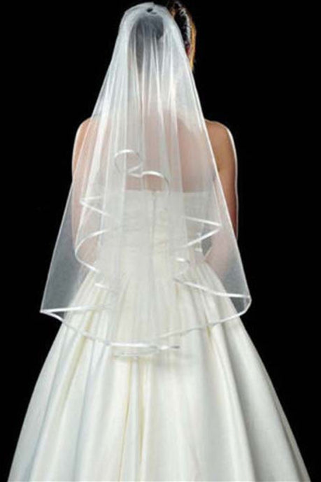 Hot-Selling Double Layered White Bridal Veil with Comb