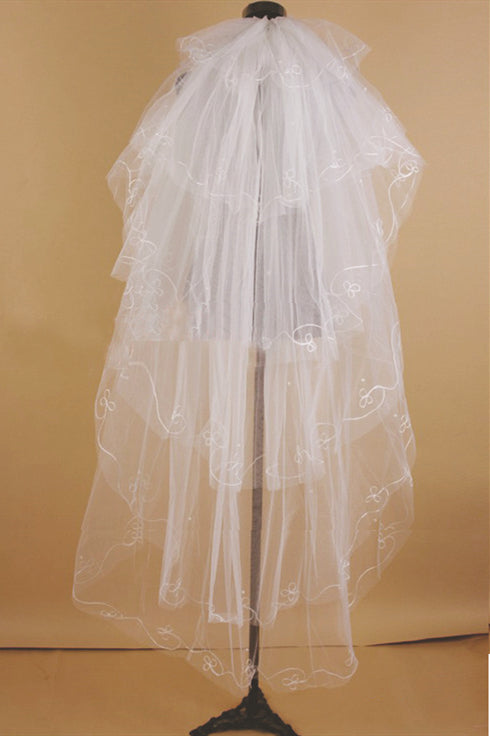1 1/2 Meters Layered White Bridal Veil