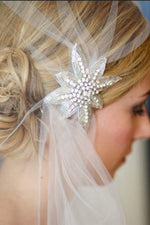 Rhinestones Headdress White Bridal Veil