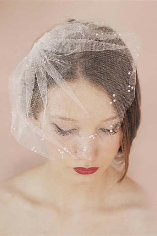Short White Bridal Veil with Pearls