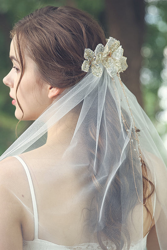 White Bridal Veil with Gold Headdress