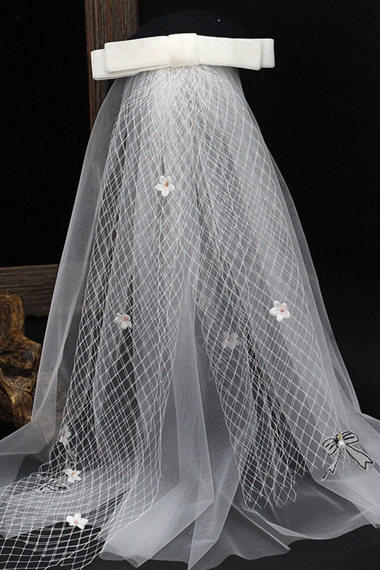 Bowknot Fairy White Bridal Veil