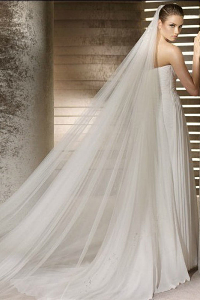 3 Meters Long White Bridal Veil With Comb
