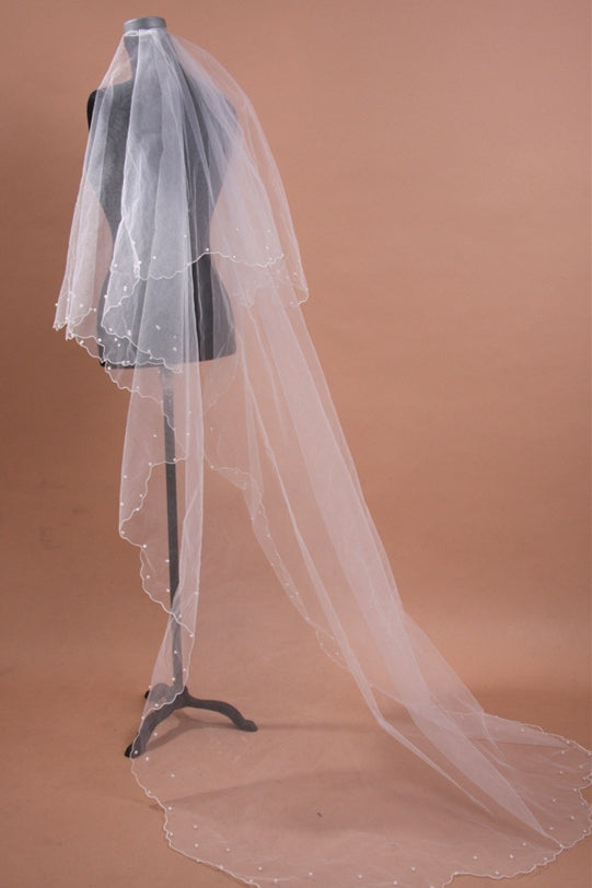 3 Layered Long Bridal Veil with Pearls