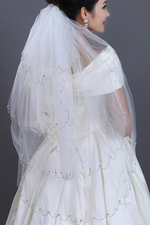 4 Layered Off White Bridal Veil