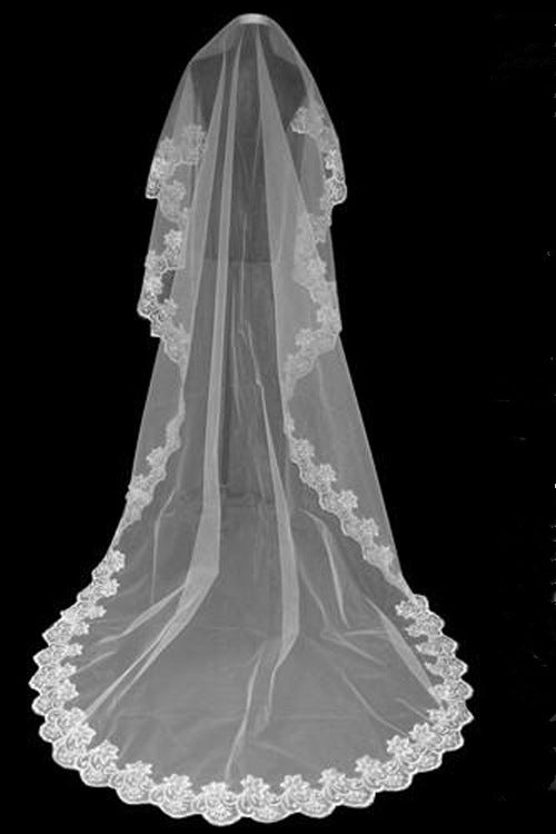 3 Meters Lace Floral White Bridal Veil