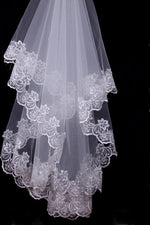 2 Meters Lace Appliqued Off White Bridal Veil