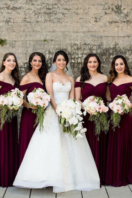 A-line Off-the-Shoulder Long Burgundy Bridesmaid Dress