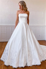 Lace Appliques Long Strapless White Wedding Dress with Pockets