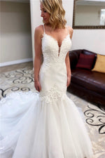 Spaghetti Strap Mermaid Long White Wedding Dress with Lace