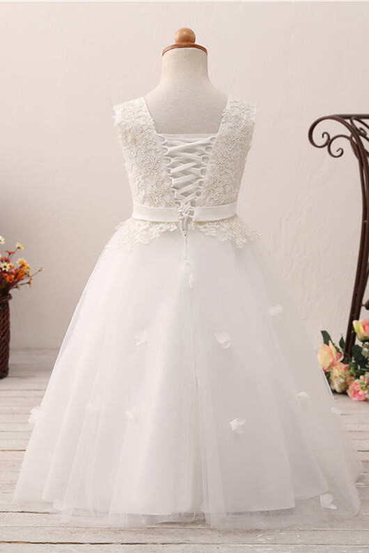 Lace Applique Lace-Up Back White Flower Girl Dress with Ribbon
