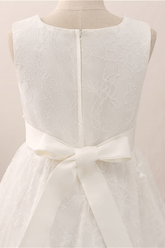 Adorable Pearls White Lace Flower Girl Dress with Bow