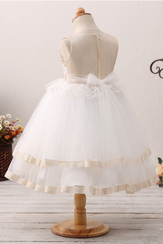 Toddler Lace Applique Champagne and White Flower Girl Dress
