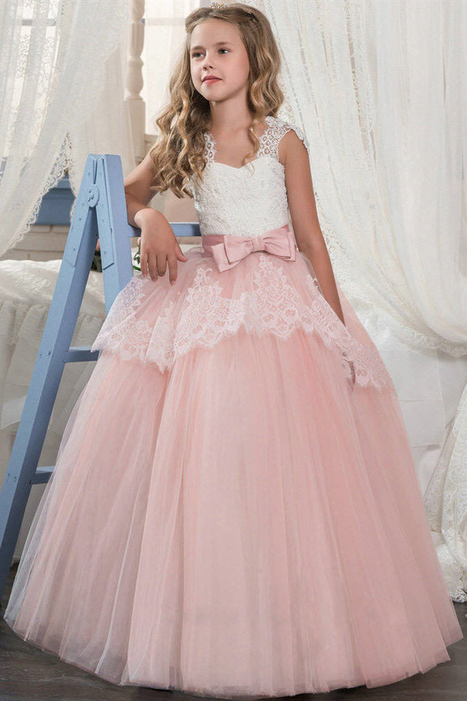 Princess White and Pink Flower Girl Dress with Bowknot