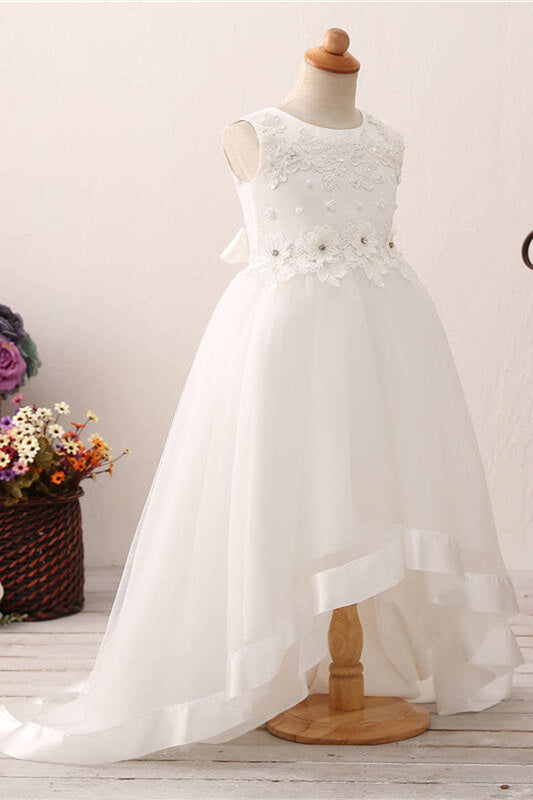 Chic High Low Floral Appliques White Flower Girl Dress
