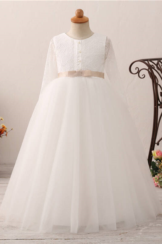 Long Slweeves Tulle and Lace White Flower Girl Dress with Bow