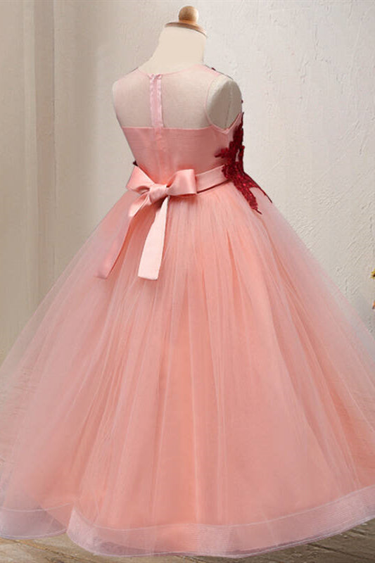 Princess Lace Appliques Dusty Rose Flower Girl Dress with Bow