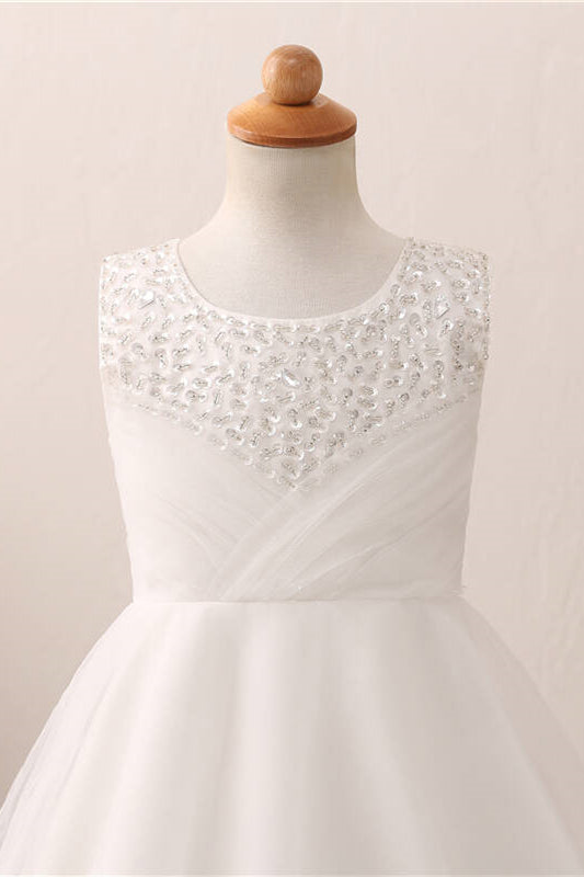 Cute Toddler Sequined White Flower Girl Dress with Bow Knot