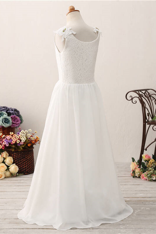 Princess White Chiffon Flower Girl Dress with Lace Top